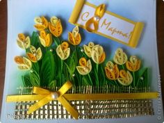 Quilling card: Tulips in the field =)))))))))) Paper on March 8.  Photo 1