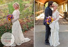 Kelly Clarkson's boho chic long sleeved dress was perfect! Love her hairdo too! #celebrity #weddings #weddingdresses #boho #chic #longsleeves #lace #flowy #lesalon #brides #bridal