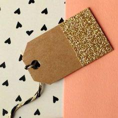 Mini Tags: Glitter-Dipped Kraft Tags