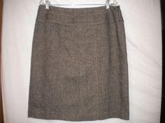 AK Anne Klein Size 14 Brown Beige Tweed Wool Blend Lined Womens Career Skirt #AKAnneKlein #Skirt