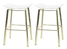 Opt for a bit of gleaming character with the gold finish featured on this set of two contemporary counter stools. Each is stool high x 16 wide x deep. Seat height is high from floor. Style # at Lamps Plus.
