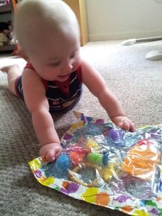 Sensory bag... Very cool for 8 month old!