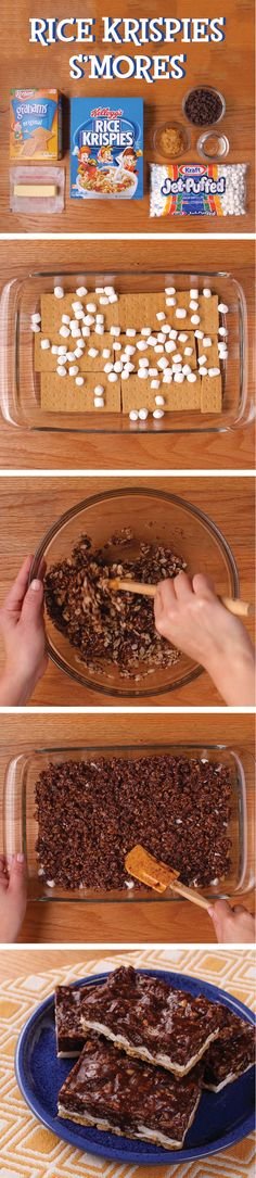 Enjoy these delicious, graham-crackery Rice Krispies® S'mores Treats™ without campfires or bear attacks. For more no-bake Treats In A Snap, visit RiceKrispies.com Ingredients: - 3 tablespoons butter or margarine - 1 package (10 oz., about 40) JET-PUFFED Marshmallows OR 4 cups JET-PUFFED Miniature Marshmallows - 6 cups Kellogg's® Cocoa Krispies® cereal - 3 Keebler® Grahams Original - 1 1/2 cups miniature marshmallows - 1/4 cup miniature semi-sweet chocolate morsels