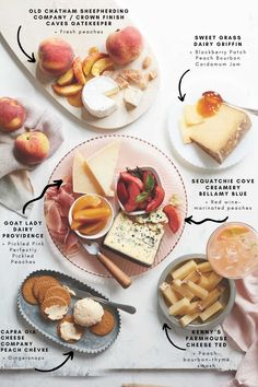 This sweet-and-savory cheese board puts peaches at center stage—pairing the fruit itself and other flavored accompaniments with cheese. Pickled Peaches, How To Peel Peaches, Spicy Bite, Peach Preserves, Cheese Pairings, Ripe Peach, Peach Slices, Milk And Cheese