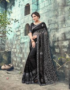 ed9de62611b Black Color Embroidered Net Saree With Blouse Indian Clothes Online