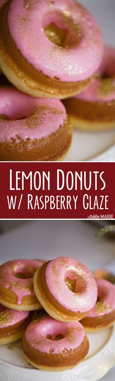 Easy to make baked Lemon Cake Donut recipe with a delicious Raspberry Glaze | Ashlee Marie | Holiday | Doughnuts | Dessert | #dessert #ashleemarie #holidaytreats #donuts #doughnuts #dessert