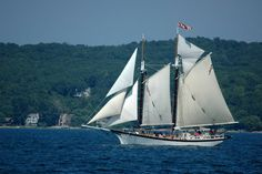 The tall ship Manitou, which offers daily cruises on West Grand Traverse Bay in summertime.