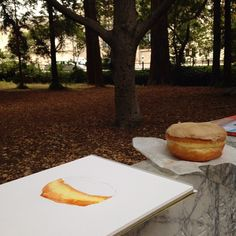 Ah yup, painting in the prettiest location yet: the UC Berkley Campus. King Pin Donuts was tiny and HOT so I moved this party outdoors. Behind-the-scenes with plein air watercolor donut painting.