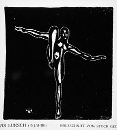 Andreas Luksch, Untitled balancing figure, ca 1919, woodcut. Image: 4 1/8 x 4 in. Robert Gore Rifkind Ctr for German Expressionist Studies @ LACMA