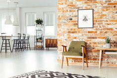 Ściana wykonana za pomocą cegły CLASSIC PREMIUM Red Brick Walls, Red Bricks, Rustic Furniture, Bar Stools, Countertops, Stock Photos, Interior Design, White Lamps, Home Decor