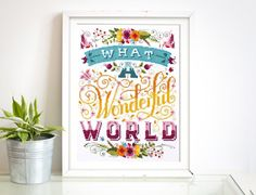 Its a wonderful world!  This detailed floral typographic pattern celebrates the beauty of everyday. A great little reminder. Its one of our more detailed patterns and contains whole, half and back stitch as well as a few french knots. Great for those who love a challenge!  The design