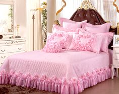 lace ruffle yarn bedding sets,111 roses duvet cover set,king,pink red-in Bedding Sets from Home & Garden on Aliexpress.com