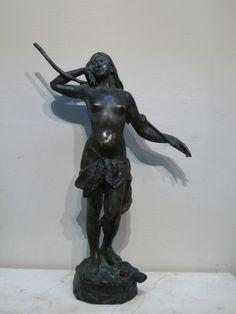 """Louis-Philippe Hébert, """"Fleur des bois - car son coeur fut pris par un guerrier blanc,"""" 1897, bronze (Hohwiller), 21 1/4"""". Claude, Philippe, Sculpture, American, Batman, Bronze, Statue, Superhero, Collection"""