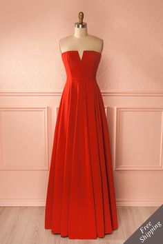 Meldrad #Boutique1861 / Red-orange strapless gown, to light up the evening! #promdresses #bridesmaidresses