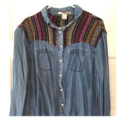 Denim shirt Long sleeve button up with stitching around the shoulders. Only worn once! Forever 21 Tops