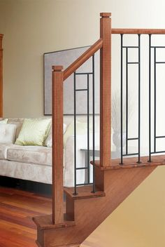Colonial Elegance® Zen [Mission] x x Sand Silver & Black Wrought Iron Stair Panel Staircase Railing Design, Iron Stair Railing, Wrought Iron Stairs, Iron Balusters, Modern Staircase, Craftsman Staircase, Railing Ideas, Oak Stairs, House Stairs