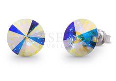 Lśniące tysiącem barw kolczyki Candy Studs z kolekcji Candy z kryształami Swarovski ELEMENTS w odcieniu Aurora Boreale | SREBRO \ Kolczyki NA PREZENT \ Dzień Matki od GESELLE Jubiler