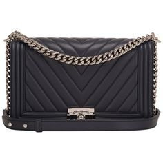 Chanel Navy Chevron Quilted Lambskin New Medium Boy Bag 1