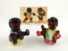 Black Americana Salt and Pepper Shakers, Children Sitting, Glazed Ceramic, Hand Painted, Cork Stoppers, Vintage 1950s by BestChoices on Etsy