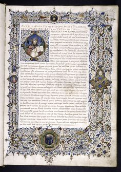 Opening of text, with historiated initial, white vinestem border with cherubs and portraits, coat of arms (unidentified)... (ca. 1470)