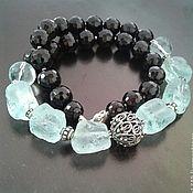 """Handmade jewelry.  Fair Masters - handmade necklace """"Shine"""" Silver, Onyx, aqua quartz ..  Handmade."""