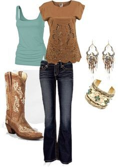 Cute brown and teal with cowgirl boots | best stuff