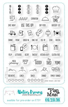 PRE-ORDER Plan Meal - Planner Stamps (Photopolymer Clear Stamps) meal tracking stamp, stamp, kawaii clear stamp