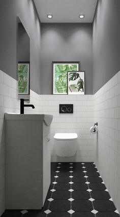 Mała toaleta z zielonym akcentem - BLU Salony Łazienek - Lilly is Love Bathroom Design Luxury, Bathroom Design Small, Bathroom Layout, Modern Bathroom, Interior Design Toilet, Small Downstairs Toilet, Small Toilet Room, Toilet Room Decor, Small Toilet Design