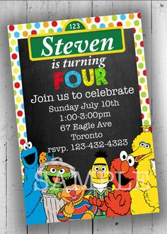 Sesame Street Party Invitation Printable by PartyPrintableInvite Printable Birthday Invitations, Party Printables, Sesame Street Party, Rsvp, Birthday Parties, Kids, Anniversary Parties, Young Children, Children