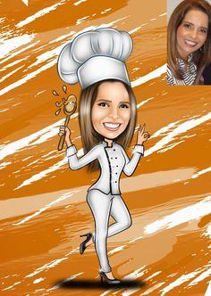 Caricaturas digitais, desenhos animados, ilustração, caricatura realista: Desenho da chef de cozinha Gisele !!