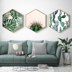 Home Hexagon Green Plant Painting Plant Framed Art Christmas Gift Living . - Home Hexagon Green Plant painting plant framed art Christmas gift living room decor gift for her ho - Green Dining Room, Living Room Green, Living Room Interior, Living Room Furniture, Living Rooms, Living Area, Apartment Living, Modern Furniture, Antique Furniture
