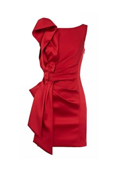 Pleated Side Red Shift Dress