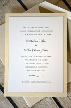 Madison and Alan of Austin, Texas chose the Horseshoe Bay Yacht Club for their wedding venue. The two-layered invitation of white with champagne shimmer had a matching shimmer envelope. What a presentation! And what is hard to see in this photograph, is the white top card has a thin gold edge.   Ooh La La. This classic invitation is a timeless beauty.