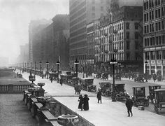 Michigan Ave, 1918, Chicago. My German/Swiss grandfather was 35 at the time.
