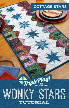 Triple Play-Cottage Star Table Runner - Jenny Doan is taking the classic Wonky Star quilt block, pairing it with her adorable Tiny House bl - House Quilt Patterns, House Quilt Block, Star Quilt Blocks, Star Quilt Patterns, House Quilts, Star Quilts, Table Runner And Placemats, Quilted Table Runners, Quilted Table Runner Patterns