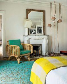 Bedroom in India Mahdavi's apartment in Paris.     #interiordesign #interiors #interior #interiores #interiordesignideas #interiorinspiration #interiorinspo #instadecor #instadesign #interiordesign #interiordesigner #design #homedecor  #modern #mood #elledecor #architecturaldigest #vogueliving #italiandesign  #vintage #thefinerthings  #luxury #frenchchic #chic #sofa  #frenchstyle #art #midcentury #midcenturyfurniture #indiamahdavi