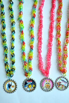 Rainbow Loom Band Bottle Cap Necklaces / Despicable me, Lego Movie, Muppets, and more by SpearCraft, $3.00