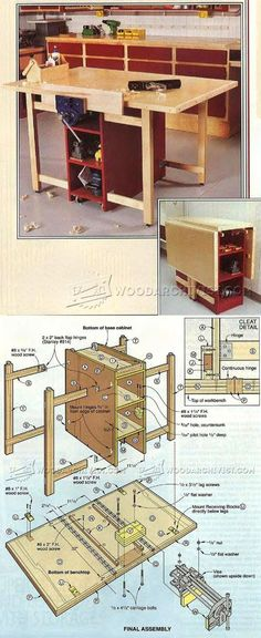 Drop-Leaf Mobile Workbench Plans - Workshop Solutions Plans, Tips and Tricks | WoodArchivist.com