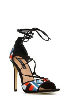 Kamaria tribal print lace-up heels! #sofun