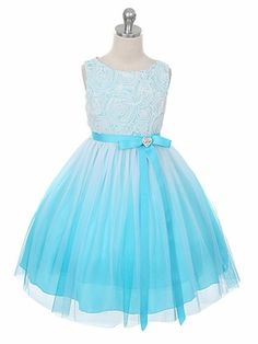 Flower girl ideas: Aqua Ombré Dress w/ Rosette Bodice
