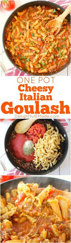 In need of an easy weeknight dinner idea? This One Pot Cheesy Italian Goulash is the perfect dinner solution and a fantastic ground beef recipe! Made with simple ingredients that you likely already (Baking Pasta With Ground Beef) Meat Recipes For Dinner, Pasta Recipes, Cooking Recipes, Chicken Recipes, Dinner Healthy, Healthy Recipes, Shrimp Recipes, Lunch Recipes, Casserole Recipes