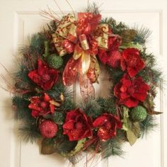 "8"" Grande Magnolia Wreath with Ribbon CR467 - Great site full of beautiful Floral Home Decor"