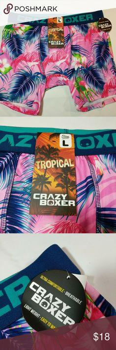 6083073092da7 BOXER brief hawaiian tropical soft L & XL Pouch CRAZY BOXER tropical  pink flamingo palm