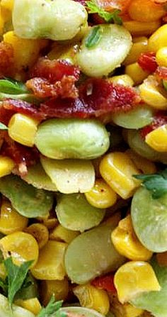 Southern Succotash with Bacon Food Recipes Easy, Food Recipes Deserts Bacon Recipes, Cooking Recipes, Healthy Recipes, Bacon Food, Healthy Breakfasts, Thai Recipes, Healthy Snacks, Succotash Recipe, Southern Tomato Pie