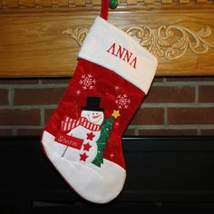 Snowman with SNOW Sign Personalized Christmas Stocking