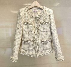 Womens Ladies Fashion Tweed Pearls Frayed Short Coat Jacket Blazer Outwear 2113 - Ideas of Tweed Jacket Women Chanel Tweed Jacket, Tweed Coat, Blazers For Women, Coats For Women, Jackets For Women, Long Overcoat, Blazer Jacket, Ladies Fashion, Pearls