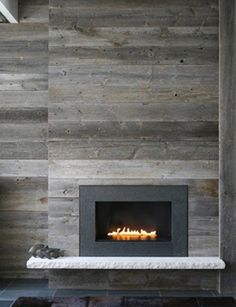 Re-claimed Wood Fireplace Surround Wood Fireplace Surrounds, Fireplace Tile Surround, Home Fireplace, Fireplace Remodel, Living Room With Fireplace, Fireplace Design, Fireplace Mantels, Fireplace Ideas, Fireplace Outdoor