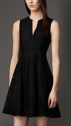 Split Neckline Lace Dress | Burberry