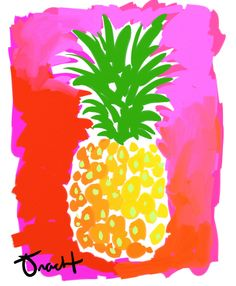 Pineapple Print 8.5x11 by Kelly Tracht Lilly Pulitzer Art Fruit Painting, Hawaiin Art, Florida Art, Yellow Pineapple, Pineapple Painting by trachtart on Etsy https://www.etsy.com/listing/126914442/pineapple-print-85x11-by-kelly-tracht