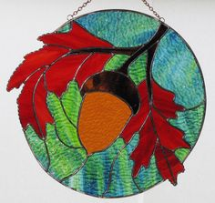 Stained Glass Suncatcher  Fall Orange Oak Leaves with by GLASSbits, $179.00
